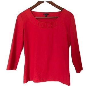 Lafayette 148 Red Crew Neck Blouse Shirt Top